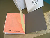 Artist's book - 1-SELF by mixed media artist, Carol Es - end pages (collar pattern) with handmade pink paper