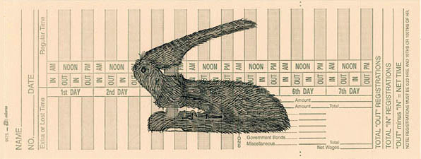 Bunnyhole Punch, inkjet print on time card by Carol Es