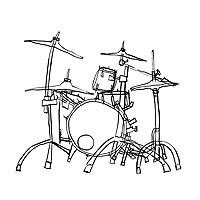 Carol Es une Monographie de Lignes - an Artist's Book by Carol Es - drum set ink drawing