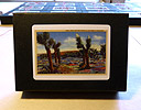 The Spark - An (Animated) Artist's Book by Carol Es - showing top of case labeled with antique painting of Joshua Tree in the springtime