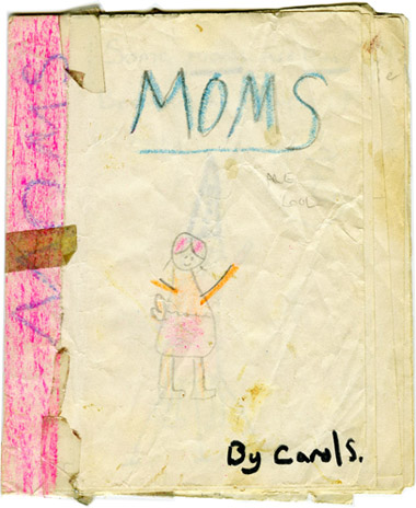 MOMS a child's book by Carol Es - Cover image of a mom in pencil and crayon