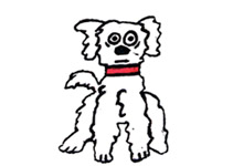 cartoon of Shammy, a character of the family bichon frise dog by mixed media artist, Carol Es